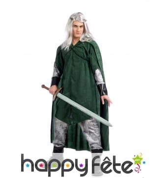 Tenue elfe médiéval vert et argenté pour homme