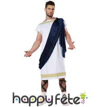 Tunique grecque blanche avec toge, pour homme