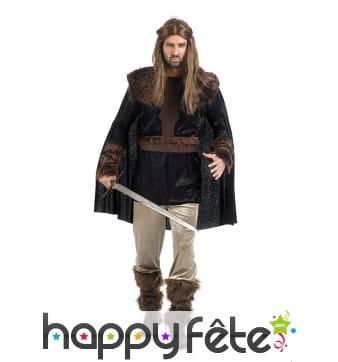 Tenue guerrier médiévale col style fourrure noire
