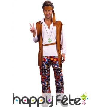 Tenue hippie blanche marron grande taille, homme