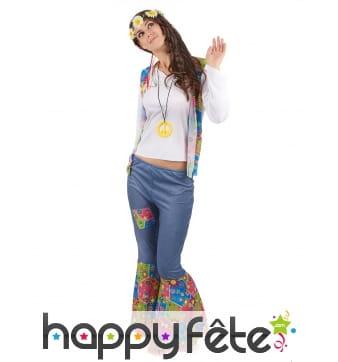 Tenue hippie bleue et colorée pour femme