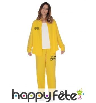 Tenue jaune de prisonnier pour femme