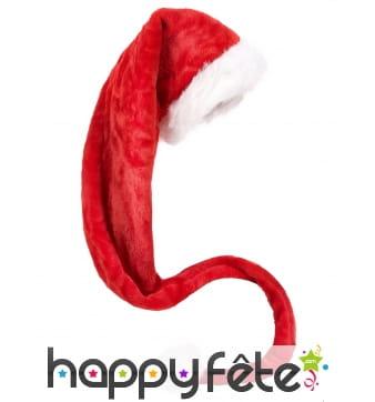Très long bonnet de Noël rouge effet velours