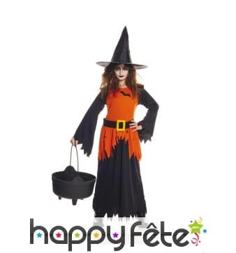 Tenue longue de sorcière noire et orange, enfant