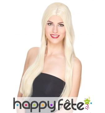 Très longue perruque blonde lisse, luxe