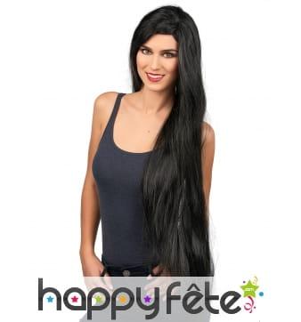 Très longue perruque noire lisse