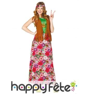 Tenue longue robe hippie fleurie rose pour femme