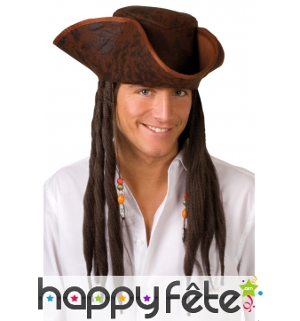 Tricorne marron avec longs cheveux de pirate