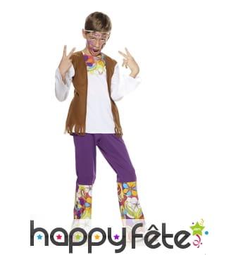 Tenue mixte de petit hippie, pantalon violet