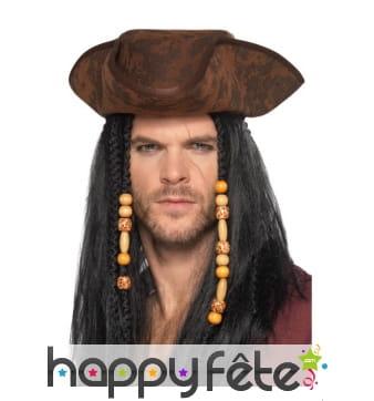 Tricorne marron de pirate adulte