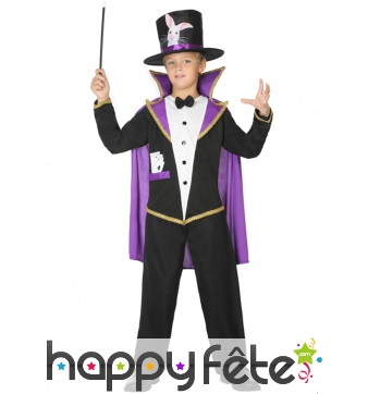 Tenue noire avec cape violette de petit magicien