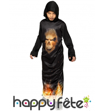 Tunique noire avec crâne et flammes pour enfant