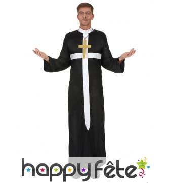 Tenue noire de prêtre imprimé croix blanche