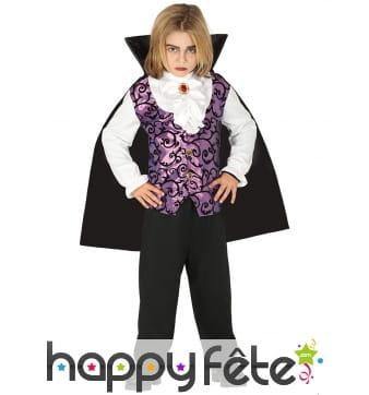 Tenue noire violette de garçon vampire
