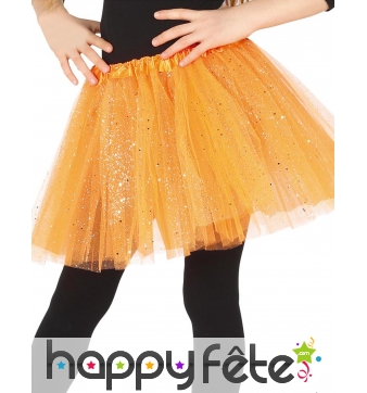 Tutu orange fille en tulle pailleté argenté