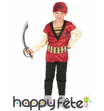 Tenue pirate rouge pour enfant imitation velours