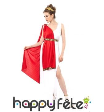Tunique romaine blanche avec drapé rouge, femme