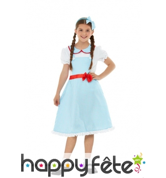 Tenue robe country vichy bleue pour enfant