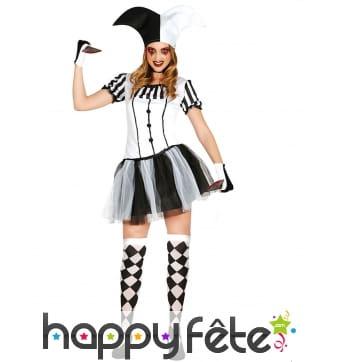 Tenue robe courte d'arlequin noir et blanc femme
