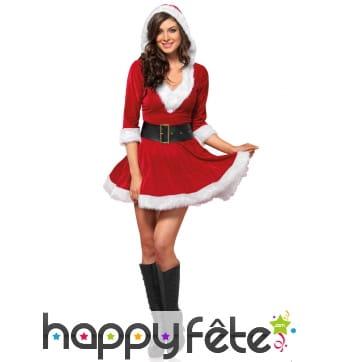Tenue robe courte rouge de mère Noel