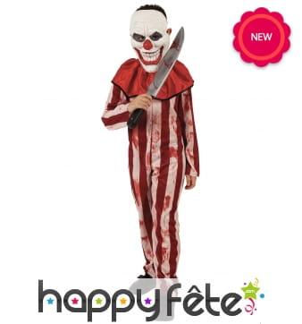 Tenue rayée de clown d'Halloween pour enfant