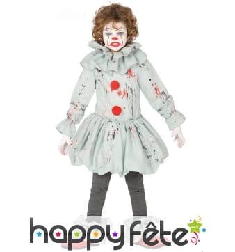 Tenue rétro d'enfant clown tueur