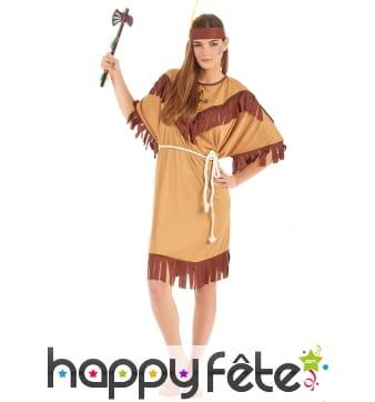 Tenue robe d'indienne marron clair pour femme