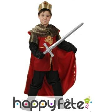 Tenue rouge de roi médiéval pour petit garçon