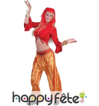 Top rouge de danseuse orientale pour femme