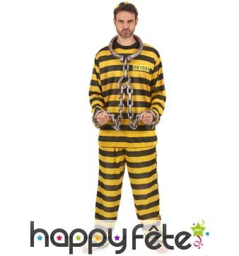 Tenue rayée jaune et noire de prisonnier, adulte