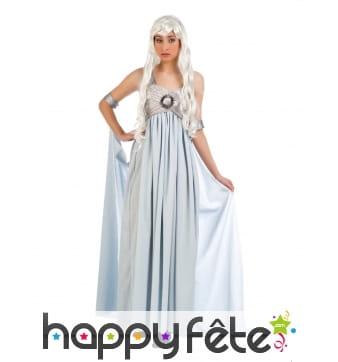 Tenue robe longue et voile Empire bleue et grise