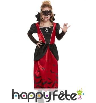 Tenue rouge noire gothique de vampire pour fille