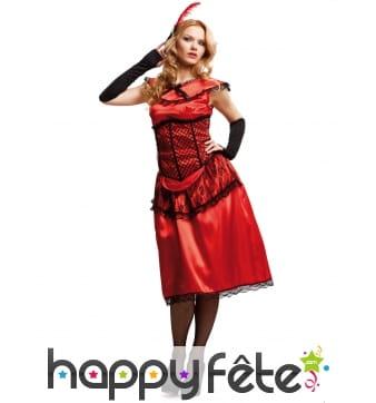 Tenue robe rouge de cabaret avec dentelle noire