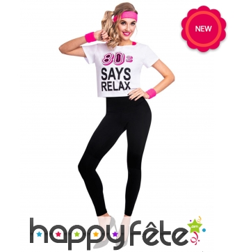 T-shirt 80 s says relax pour femme adulte