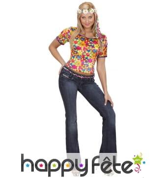 Tee-shirt coloré motifs hippies, imitation velour