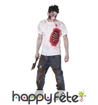 T-shirt de zombie avec côtes visibles