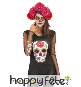 T-shirt Dia de los muertos manches transparentes