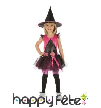 Tenue sorcière Dia de los muertos rose pour enfant