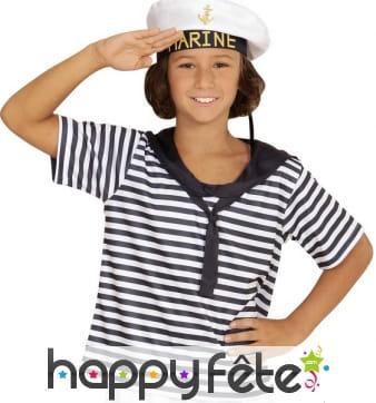 T-shirt et chapeau de marin pour enfant