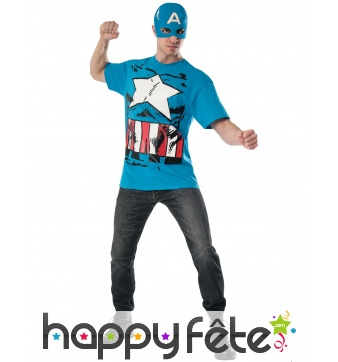 T-shirt et masque du Captain America pour adulte