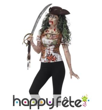 T-Shirt femme imprimé pirate zombie