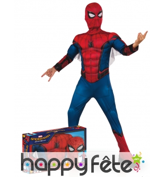 Tenue Spiderman Homecoming musclé enfant, coffret