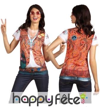 T-shirt imprimé gilet et pendentif hippie