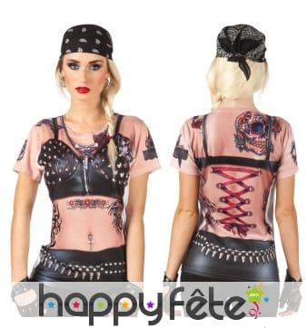 T-shirt imprimé lady biker sexy
