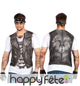 T-shirt imprimé veste de biker