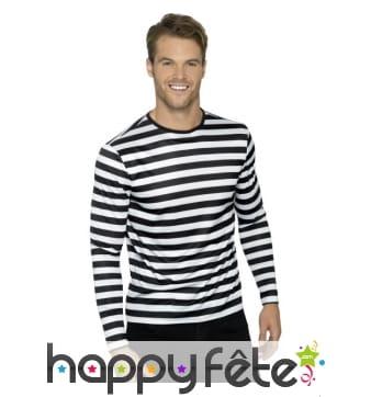 T-Shirt ligné noir et blanc à manches longues