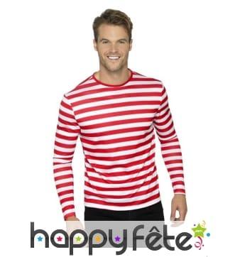 T-Shirt ligné rouge et blanc à longues manches