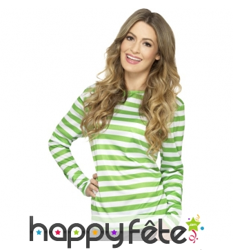 T-shirt longues manches ligné vert blanc unisexe