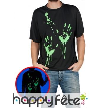 T-shirt noir avec traces de mains phosphorescentes