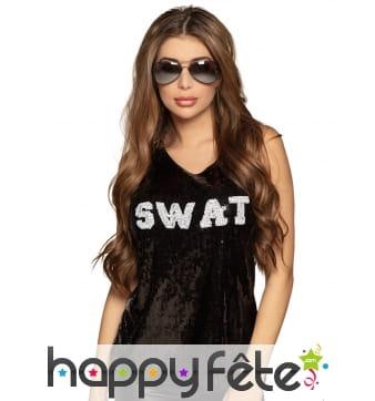 Top SWAT noir sans manche à sequins pour femme
